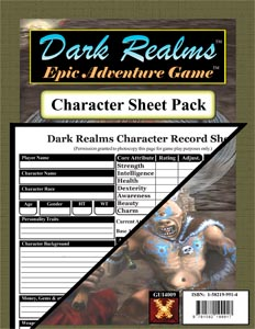 Dark Realms Epic Adventure Game: Character Sheet Pack